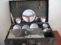 Antique Auto Suitcase / Antique Auto Picnic by vintagemb60 on Etsy, $145.00