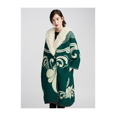 Marit Ilison Sheepskin-collar floral wool coat ($1,650) ❤ liked on Polyvore featuring outerwear, coats, wool coat, cocoon coat, emerald green coat, floral coats and woolen coat