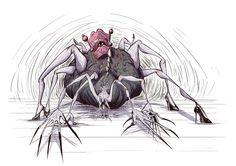 """segunda ilustracion de """"debajo de la cama"""", todo el concepto del mostruo que se esconde debajo de la cama, siempre me resulto gracioso ºuº"""
