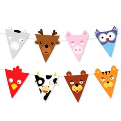 Cow Owl Tiger Bear Pig Shaped Reusable Garland Animal Party Banner Flags for Kids