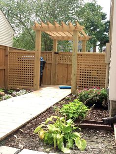 backyard makeover one year later concrete masonry decks fences outdoor living pool designs Backyard Gates, Backyard Privacy, Backyard Landscaping, Pergola Garden, Large Backyard, Landscaping Ideas, Living Pool, Outdoor Living, Outdoor Patios