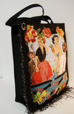 Black Canvas Tote With Custom Retro Fabric Applique by paulagsell, $32.00