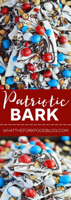 Easy Patriotic Bark from What The Fork Food Blog - perfect for Memorial Day or 4th of July parties | whattheforkfoodblog.com