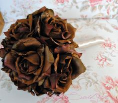 Silk Wedding Bouquet - Chocolate Brown Rose and Champagne Silk Wedding Bouquet by Kate Said Yes