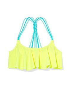 Just got this adorable swimsuit!!! Knotted-Back Flounce Crop Top - PINK - Victoria's Secret