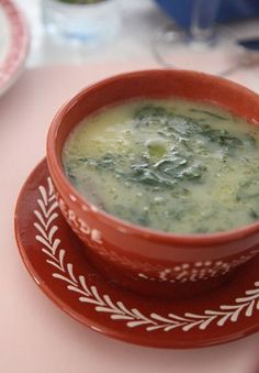Portuguese green soup (caldo verde). Thinly sliced Collards with mashed potatoes.
