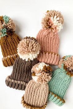 Colorful and playful hand knit beanies with an extra large pom pom on top! Sizes for Adults, kids, toddlers and babies. Great winter style! #knitbeanie #winterhat #wintersyle #pompombeanies Baby Winter Hats, Baby Girl Hats, Hand Knitting, Knitting Patterns, Crochet Patterns, Knit Crochet, Crochet Hats, Stylish Hats, Baby Bonnets
