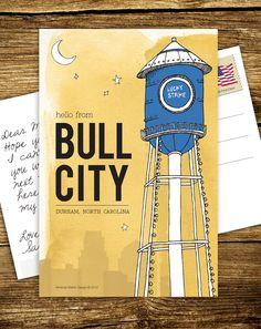 LOVE these postcards. Rep Bull City! (By AmandaSlatterDesign on Etsy, found via @allie.)