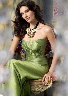 A-line strapless satin green Bridesmaid Dress BAHD0018 2016 Wedding Dresses f82842f309be