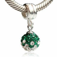 Green and Clear CZ May Birthstone Dangle Authentic 925 Sterling Silver Core Beads