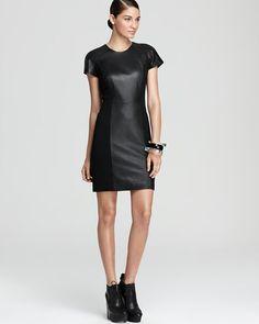 Aqua Short Sleeve Leather dress