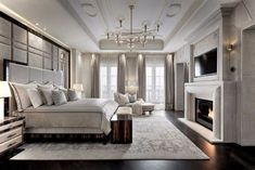10 Lovely Fireplace Design Ideas For A Comfort House - Page 6 of 11 Luxury Bedroom Design, Master Bedroom Design, Home Bedroom, Modern Bedroom, Bedroom Decor, Interior Design, Bedroom Classic, Bedroom Ideas, Luxury Master Bedroom