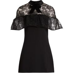 Self-portrait Line lace mini dress (11 695 UAH) ❤ liked on Polyvore featuring dresses, black, short lace cocktail dress, see-through dresses, sheer overlay dress, lace shift dress and short dresses