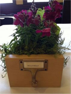 Card catalogue center pieces. Add Mason jars and succulents. Table numbers using vintage letter press.