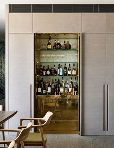 Agatha O I The Design Files - A Triumphant, Textural Home in Armadale - Photo, Derek Swalwell. Drinks Cabinet, Liquor Cabinet, Built In Bar Cabinet, Hidden Cabinet, Kitchen Interior, Kitchen Design, Bar Sala, Muebles Living, Home Bar Designs
