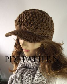 KNITTING HAT PATTERN Newsboy Hat  Claire by LiliaCraftParty
