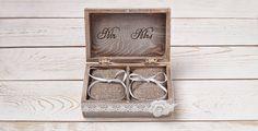 Rustikale Ring Bearer Kissen Box mit Spitze und Shabby Chic
