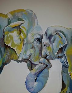 """""""Motherly Elephant"""" - Acrylic on canvas, in Recent Artwork"""