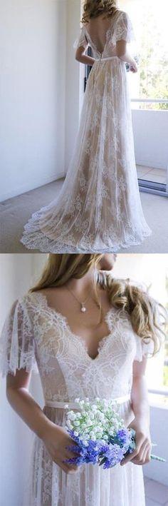 Romantic Wedding Dresses,A-line Wedding Gown,White Wedding Dress,Lace Wedding Dresses,Long Wedding Dress with Open Back #romantic #wedding #lace #gown #long #okdresses