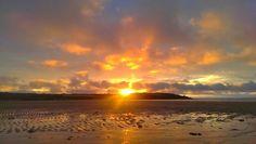 Sunset at Harlyn bay.