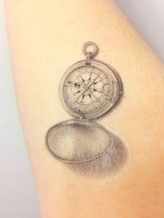 Compass Temporary Tattoo - Vintage Compass Illustration Unique Tatt ...