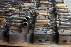 Antique Irons Stock Photo, Picture And Royalty Free Image. Antique Iron, Vintage Iron, Vintage Laundry, Vintage Sewing, Iron Board, Displaying Collections, Vintage Antiques, Old Things, Metal