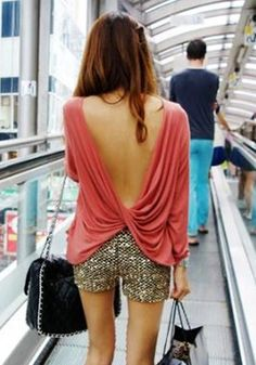 Draped V-back Top - Pink @LookBookStore  I loved shirts like this so fun and free!