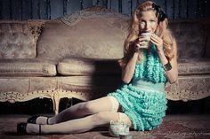 Alice in Wonderland Ruffle Raw Edge Halter Party Dress by CGHeaven, $100.00