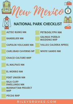New Mexico National Parks Checklist New Mexico Road Trip, Travel New Mexico, Us Road Trip, Mexico Vacation, Tennessee Vacation, Zermatt, Alaska Travel, Travel Usa, Alaska Cruise