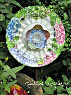 Hydrangea Plate Flower Garden Stake  As by GardenWhimsiesByMary, $35.00
