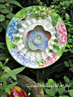 Hydrangea Plate Flower Garden Stake  As by GardenWhimsiesByMary