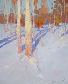 Birches Trees, Landscape oil painting, One of a kind