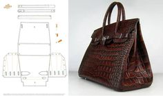 photo only for Hermes bag. Believe this was for a paper version but could adapt: Diy Handbag, Diy Purse, Leather Bag Pattern, Bag Patterns To Sew, Sewing Patterns, Leather Projects, Clutch, Handmade Bags, Bag Making