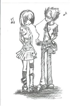 emo couple by i-cum-rainbows.deviantart.com on @deviantART