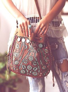 Shop Free People's beautiful boho bags, fringe purses, vegan totes, and more. Accessorize your outfit with a statement handbag that you could carry forever! Hippie Style, Hippie Chic, My Style, Gypsy Style, Bohemian Mode, Bohemian Style, Bohemian Bag, Boho Gypsy, Gypsy Bag