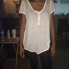 Plain White Tee Plain White Short Sleeve Tee with buttons for am extra detail. Forever 21 Tops Tees - Short Sleeve