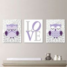 Baby Girl Nursery Art Prints. Owl Nursery Art Decor. Wall Art. Owl Decor. Girl…