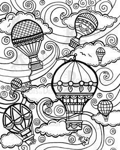 INSTANT DOWNLOAD Coloring Page - Hot Air Balloons Vintage / Steampunk Style Print zentangle inspired, doodle art, printable