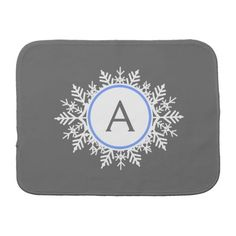 Ornate White Bright Blue Snowflake Monogram Gray Burp Cloth  This design is perfect for a baby shower gift, or Christmas present! It features an ornate white and blue snowflake monogram against a soft gray background. A sweet design for your sweet baby.   Custom, adorable - and unique. Add your own initial and make it your own.