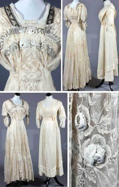 12 Piece Wedding Ensemble, Louise Loomis Burrell, Little Falls, NY from 1868 | tambored net and chemical lace bridal gown, ca. 1910, imitation of ...