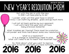 New Year's Resolution ORIGINAL Poem written by ME! Great to introduce your lesson on RESOLUTIONS for 2016!!!