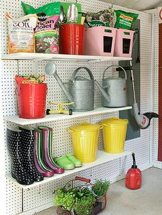 Get Organized Along the Wall using peg boards