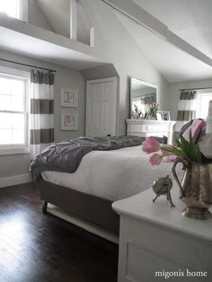 Pink and Gray Bedroom  (hand made bed and curtains made out of West Elm shower curtains)