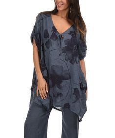 Another great find on #zulily! Bluish Gray & Midnight Blue Asymmetrical-Hem Linen Tunic #zulilyfinds