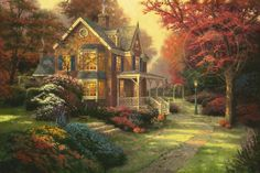 Resultado de imagem para painting autumn by thomas kinkade Victorian Paintings, Victorian Art, Thomas Kinkade Art, Kinkade Paintings, Thomas Kincaid, Art Thomas, Cottage Art, Cross Paintings, Autumn Art