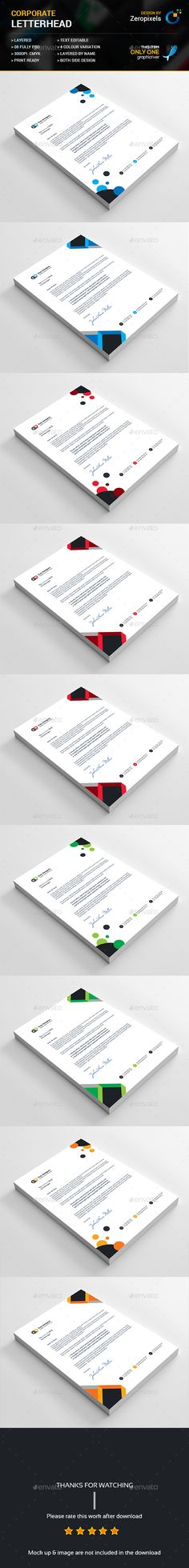 Buy Letterhead Bundle by zeropixels on GraphicRiver. Features: Easy Customizable and Editable Letterhead in with bleed CMYK Color Design in 300 DP. Letterhead Design, Letterhead Template, Letter Heads, Print Design, Graphic Design, Leaflets, Facebook Timeline Covers, Design Templates, Creative Crafts