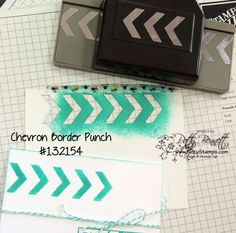 DIY chevron stencil with the Chevron Border punch, scrap paper, sponge and ink pad