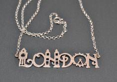 London Necklace Sterling Silver 925 City by thinkupjewelry on Etsy