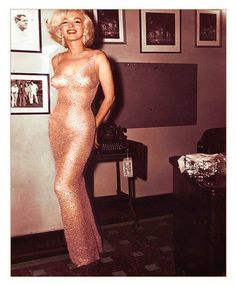 MM in her Jean Louis nude gauze crystal gown. She was sewn into the dress just hours before flying from L.A. to NYC in 1962 for JFK's birthday gala. @Morgan DeHoet