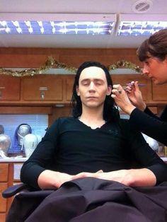 Aww Loki getting his har did